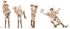 Eren x Mikasa - Armin x Annie - Levi x Hanji - Connie x Sasha