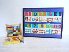 Framed 1970's Retro Puzzle Game – Funky Animals, Flowers & Numbers by blackbirdievintage on Etsy