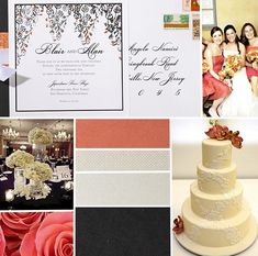 Coral and Black wedding