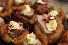 Yorkshire pudding & rare roast beef canapes with red chard and horseradish cream. Wedding food - party food - event food