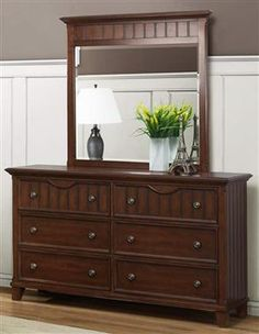 Alyssa Cherry Wood Metal Glass Dresser