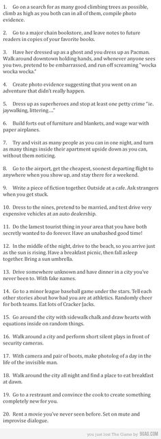 Some great, and FREE date ideas. Love this list because it's different than the normal ones you see floating around.
