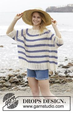 Riviera stripes / DROPS - free knitting patterns by DROPS design, Knitted sweater with textured pattern, stripes and raglan yoke, knitted from top to bottom. Sizes S - XXXL. The piece is worked in DROPS Brushed Alpac. Drops Design, Knitting Patterns Free, Free Knitting, Free Pattern, Pullover Mode, Summer Knitting, Alpacas, Jumpers For Women