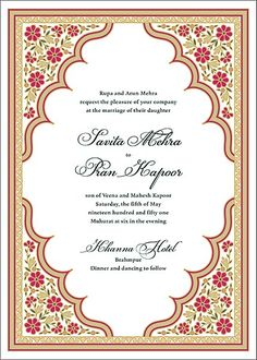 A wonderfully ornate, Indian-inspired design adorns the beautiful Niwas Wedding Invitation, part of the Niwas suite of wedding cards designed by Paperless Post.Printed on Mohawk superfine white 130 lb. card stock that is soft to the touch and matc Marriage Invitation Card, Marriage Cards, Wedding Invitation Paper, Wedding Cards, Diy Wedding, Wedding Ideas, Indian American Weddings, Wedding Illustration, Indian Wedding Invitations