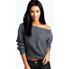 Boohoo Natalie Crop Slash Neck Fisherman Jumper ($20) ❤ liked on Polyvore featuring tops, sweaters, charcoal, knit jumper sweater, off shoulder crop top, off the shoulder sweater, knit tops and off shoulder top