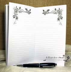 Midori Traveler's Notebook Insert: Lined With Floral Frame Header Art 64 Pages 9 Traveler's Notebook Sizes and Various Cover Color Choices by AORJournals from AOR Journals by Ann. Find it now at http://ift.tt/2gHYUoN!