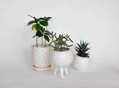 White ceramic 3 legged planter with golden decor/ air planter/