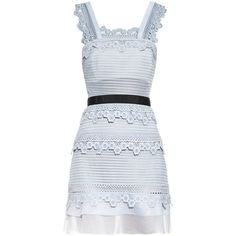 Self-portrait Petunia lace mini dress ($339) ❤ liked on Polyvore featuring dresses, light blue, short dresses, lace ruffle dress, see through dress, lace mini dress and lace cocktail dress