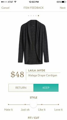 Laila Jayde Malaga Drapr Cardigan.  Stitch Fix