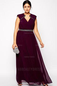 A-Line/Princess Asymmetrical Floor-length Chiffon Plus Size Evening Dress