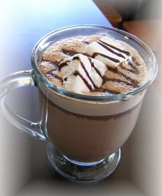 Hot chocolate made with chocolate & marshmallows