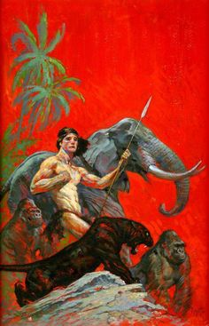 'The Beasts of Tarzan' paperback cover painting by Frank Frazetta (1963)