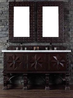 "James Martin Furniture - Balmoral 60"" Antique Walnut Single Vanity with 4 CM Carrara White Marble Top - 150-V60S-ANW-4CAR"