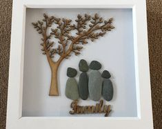 Items similar to Pebble Art Family on Etsy New Home Presents, New Home Gifts, Pebble Pictures, Art Pictures, Framed Wooden Letters, Christmas Pebble Art, Pebble Art Family, Rock Painting Patterns, Adult Crafts