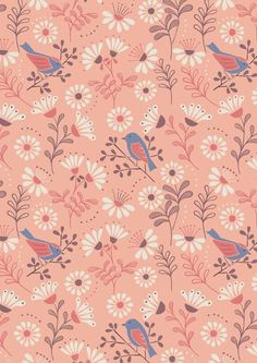 New from Lewis & Irene's 'A little Bird Told Me' collection titled 'A Little Bird Told Me on Peach'. This cotton fabric features colourful birds in floral setting on a Peach background. Cute Wallpapers, Wallpaper Backgrounds, Iphone Wallpaper, Vector Pattern, Pattern Design, Textures Patterns, Print Patterns, Deco, Peach Background