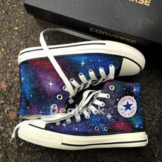 Custom Design Hand Painted Shoes Galaxy Converse Chuck Taylor Men... (160 CAD) ❤ liked on Polyvore featuring men's fashion, men's shoes, men's sneakers, mens canvas sneakers, mens hi top shoes, mens black hi top sneakers, mens waterproof shoes and mens high top shoes