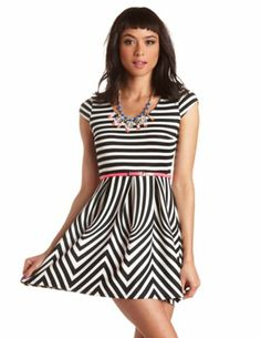 Belted Abstract-Striped Skater Dress: Charlotte Russe