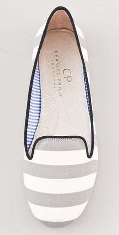 Striped loafers by Charles Philip. #grey #white #stripes #flats #shoes
