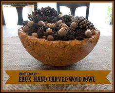 Faux hand-carved rustic-looking wood bowl