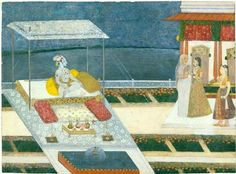 Radha escorted to the waiting Krishna  (763)     Radha escorted to the waiting Krishna. India, Rajasthan, Kishangarh. c. 1740-50. Opaque watercolour, gold and oxidised silver on paper. h. 22.7 cm. Acquired 1980. Robert and Lisa Sainsbury Collection. UEA 763