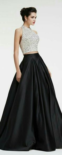 Black and White Beaded Sparkly Ball Gown Two Piece Prom Dresses Two piece prom dresses Halter crystal beaded sparkly prom dresses ball gown pageant dresses black quinceanera dresses Black Quinceanera Dresses, Sparkly Prom Dresses, Pageant Dresses, Ball Dresses, Ball Gowns, Dress Prom, Wedding Dresses, Dresses Dresses, Dress Long