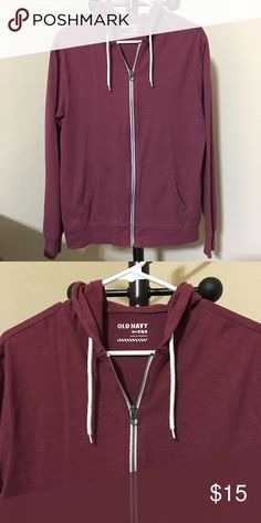 Old Navy Jersey Hoodie for Men Size: MEDIUM  Color: Burgundy Red / Deep Purple  -Drawstring hood. -Long sleeves. -Hand-warming pockets. -Full-length zipper from hem to neck. -Soft, lightweight jersey.  Good condition ! Thanks for shopping @toowendy ! 😊 Old Navy Jackets & Coats Lightweight & Shirt Jackets