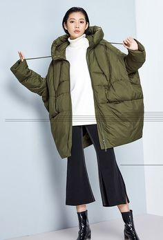Womens Winter Loose Fitting Casual Hooded Thickened von hodoostory