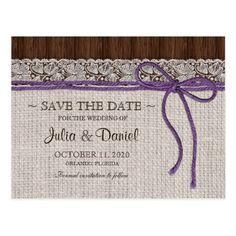 Rustic Wedding Save the Date Purple Rustic Wedding Save The Date Postcard