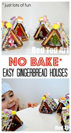 No Bake Gingerbread Houses Ideas. This mini Gingerbread house not only are super duper cute, but they are also super fun to make. We love that they are NO BAKE Gingerbread Houses... tasty, cute and sweet. Perfect as an Advent activity or for a Christmassy