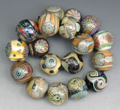 SJC Lampwork 19 handmade murrini, silver glass & dichroic round beads ~SRA~ USA~ #SJCLampwork #Lampwork