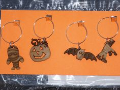 Hardwood Halloween Wine Charms Mummy JackoLantern by SandHonEtsy, $10.00