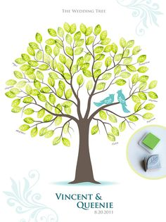 Stamp Me Wedding Tree Guest Book Poster with Hand by TJLovePrints, $59.00