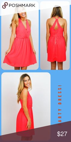 """NWT Bright Days Coral Dress Sunny coral dress perfect for summer-  day or evening.  - Cross back styling with exposed zipper.      - Dress is cotton/polyester and fully lined.                                                                - Sizing info : Model is 5'6"""" and wearing a size Small.  Size Large Msmts: Bust - 36"""",  Length - 34.5"""" Dresses Mini"""