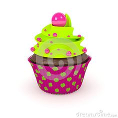 3d sweet cupcake with pearl sweets on a light background