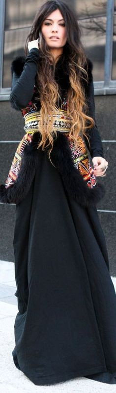 Boho in the city: Black maxi + embroidered vest.