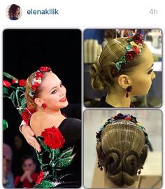 Cool swirl bun hairstyle with flower band matching her dress for standard