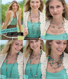 St. Lucia Necklace Combos. One necklace, numerous ways to wear it.  Can even wear the removable shorter strand as a bracelet (doubled).