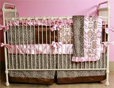 Cheetah and Damask Minky Crib Bedding | Nursery Bedding | Cottage Dreams | Baby Crib Bedding