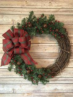Rustic Plaid Christmas Wreath.  Grapevine wreath ~ Plaid Christmas Bow ~ Red berries ~ Rustic Jingle Bells ~ Christmas wreath