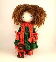 CUTE DOLL - Lily made to order brown textile cloth doll gift for her christmas gift