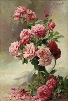 Albert Tibule Furcy de Lavault - Pink Roses in a Glass Vase