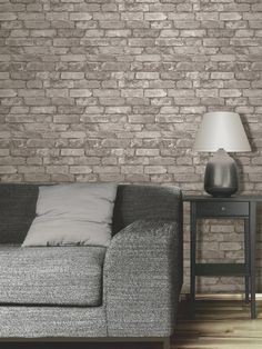silver grey brick effect wallpaper ideal for any room of the house - Wallpaper Decor