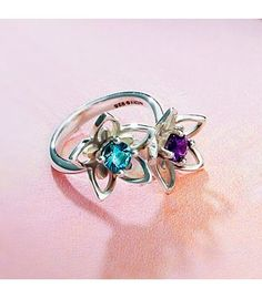 double star flower ring with blue topaz and amethyst james avery - James Avery Wedding Rings