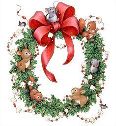 Navidad - wreath with animals - printable