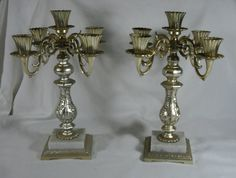 Vintage Matched Pair Gold Metal & Marble 5 Candle Candelbra Dilly