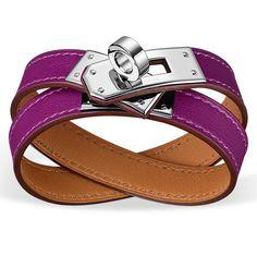 hermes birkin crocodile price - Rivale Double Tour Hermes leather bracelet (size XS) Anemone swift ...