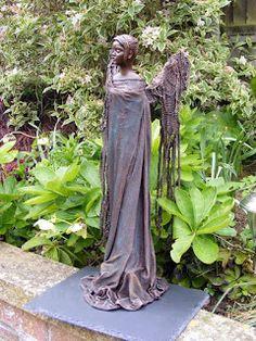 Powertex angel figure for the garden, Powertex fabric hardener. Crafty Love n Hugs: Wowee! Do I love Powertex! Outdoor Sculpture, Outdoor Art, Love Hug, My Love, Mind Up, Dry Brushing, Garden Ornaments, Stone Art, Yard Art