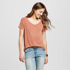 Women's Short Sleeve Softest V-Neck Tee Orange Xxl - Mossimo Supply Co.