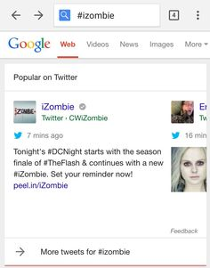 "Tweets In Carousel, With Images Both Twitter and Google shared the news in blog posts today, with examples. Below, here's our own example of how it looks for a search on #iZombie. There's a ""carousel"" of tweets at the top of the page, where many of them show large images:"
