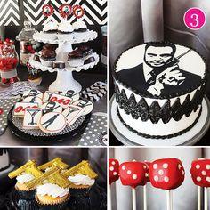 "james-bond-inspired-party, ""Shaken not stirred"". Love the dice shaped cake pops."
